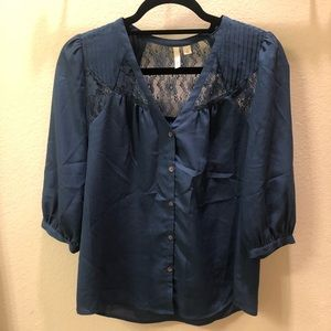 Frenchi Silky Dark Blue Lace Long Sleeve Blouse